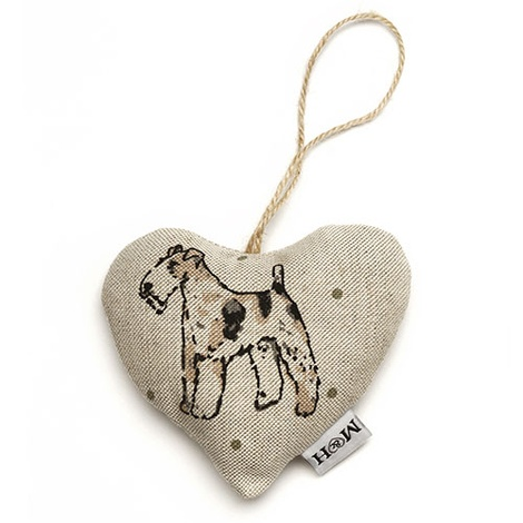 Dogs Linen Lavender Heart Natural - Fox Terrier