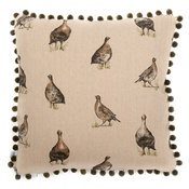 Mutts & Hounds - Grouse Linen Cushion with Olive Pom Poms