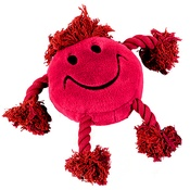 Multi Pet - Happy Face Plush Dog Toy – Red