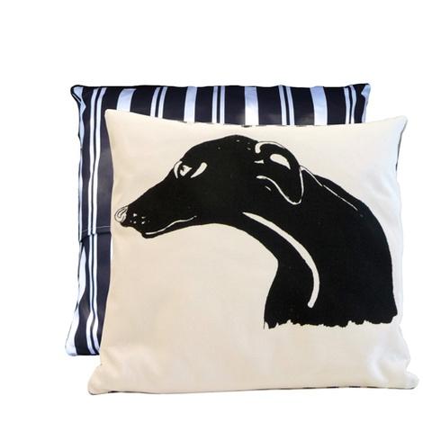 Greyhound Butcher Stripe Cushion