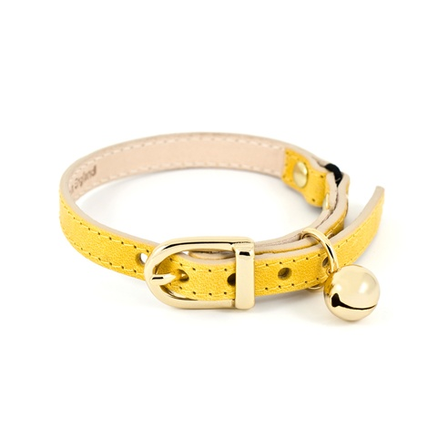Yellow Leather Cat Collar 2