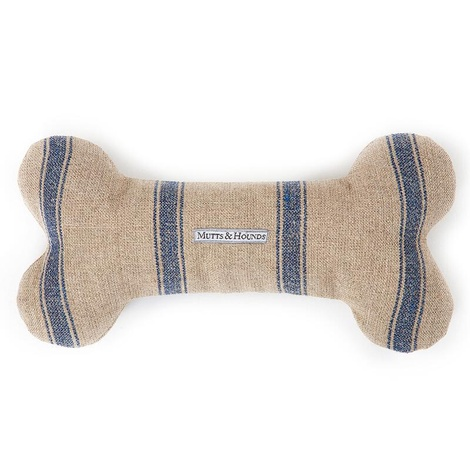 Navy Nordic Stripe Squeaky Bone Toy