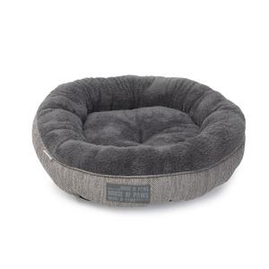 Grey Hessian Donut Cat Bed