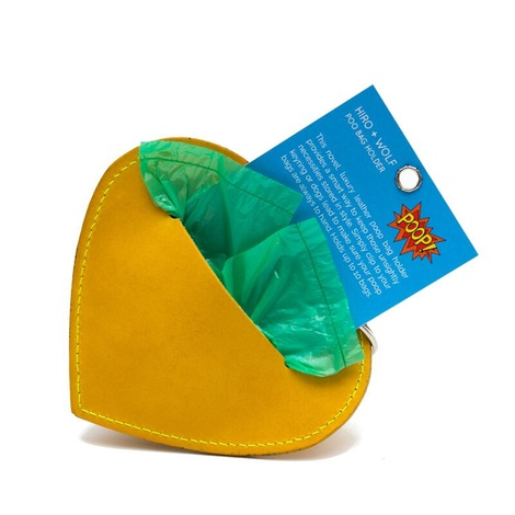 Leather Heart Poo Pouch – Acacia Yellow 4