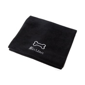 PetsPyjamas - Personalised Black Bone Dog Blanket - Italic Font