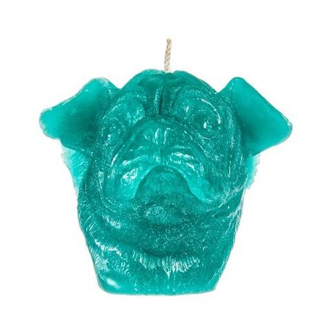 Winged Pug Candle - Turquoise