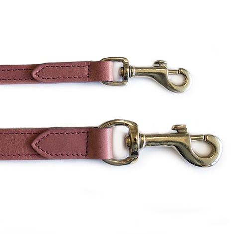 Heather Leather Dog Lead - Pastel Pink 2