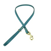 Clementine est. Dogs - Beaton Flat Leather Dog Lead – Teal