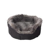 House of Paws - Arctic Tipped Faux Fur & Suede Oval Snuggle Dog Bed