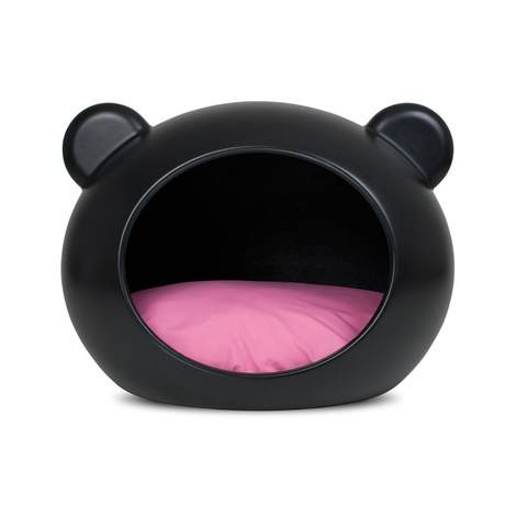 Small Black Dog Cave with Pink Cushion