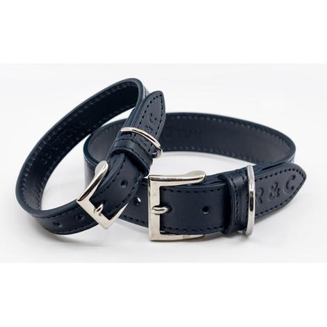 Leather dog collar (Rimini) - Midnight Blue