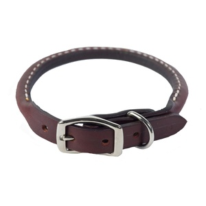 Rolled Leather Dog Collar – Burgundy