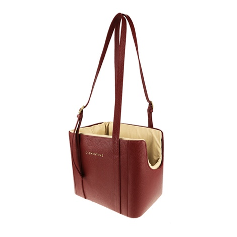 Leather Dog Bag – Burgundy