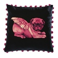 Biddy Pug Cushion Cover - Black with Neon Pink Pug