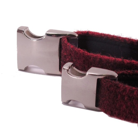 Red Check Harris Tweed Dog Collar 2