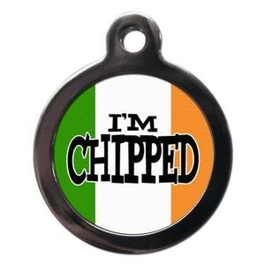 I'm Chipped Irish Flag Pet ID Tag