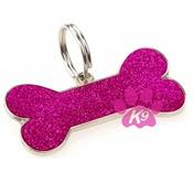 K9 - Glitter Bone ID Tag - Cherry Pink