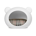 Small White Dog Cave with Tartan Cushion