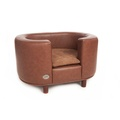 Hampton Leather Pet Bed - Chestnut Beige 2