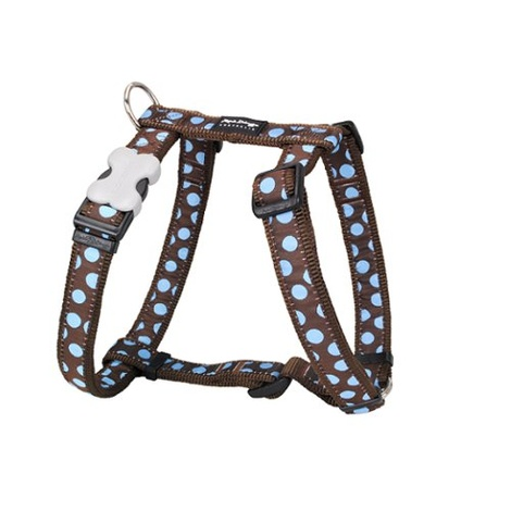 Dog Harness - Blue Spots on Brown