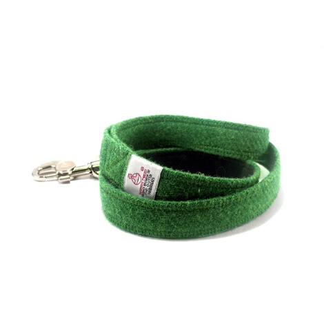 Bright Green Harris Tweed Dog Lead