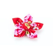 Pet Pooch Boutique - Red Vintage Flower Collar Accessory