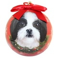 Black & White Shih Tzu Puppy Christmas Bauble