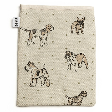 Dogs Linen Tablet Case - Natural 2