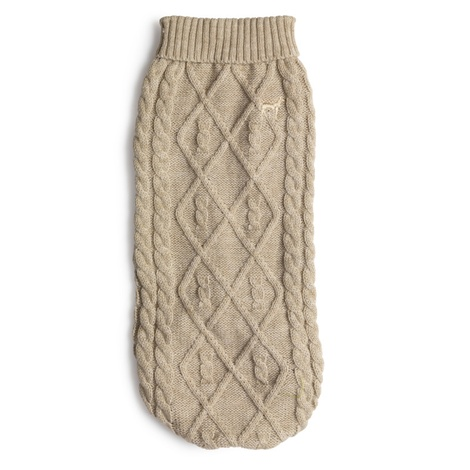 Cable Knit Polo Neck Dog Jumper – Oatmeal