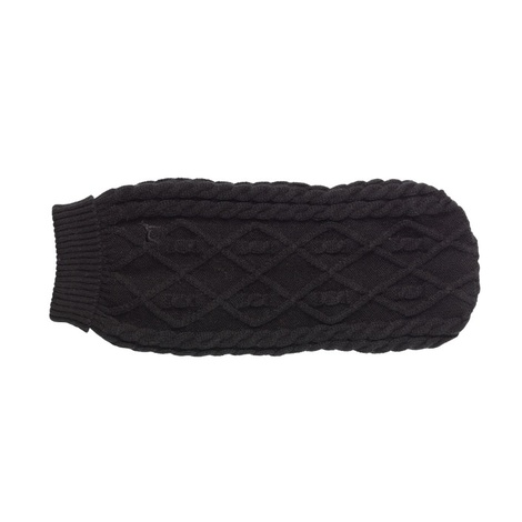 Cable Knit Polo Neck Dog Jumper – Black 2