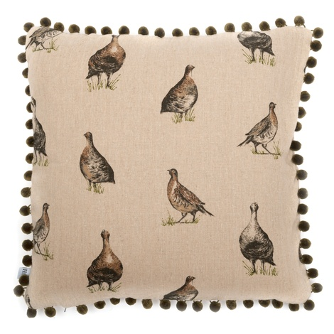 Grouse Linen Cushion with Olive Pom Poms