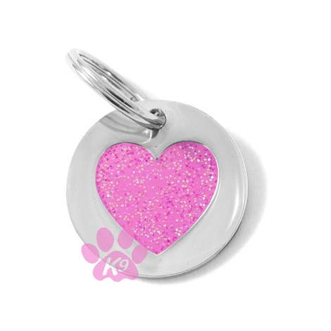 K9 Small Glitter Pink Heart Cat ID Tag