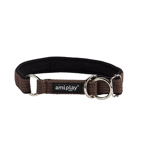 Ami Play Cotton Half Check Collar - Brown