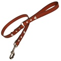Tan Silver Hearts Classic Leather Dog Lead