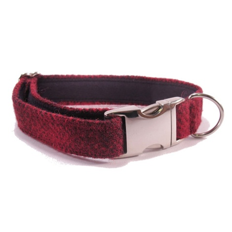 Red Check Harris Tweed Dog Collar