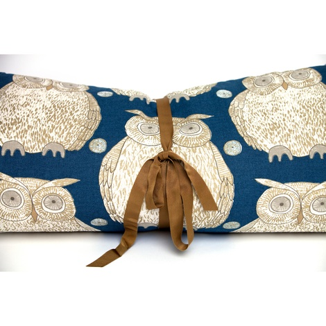 Owl Motif Dog Roll Bed - Navy 2