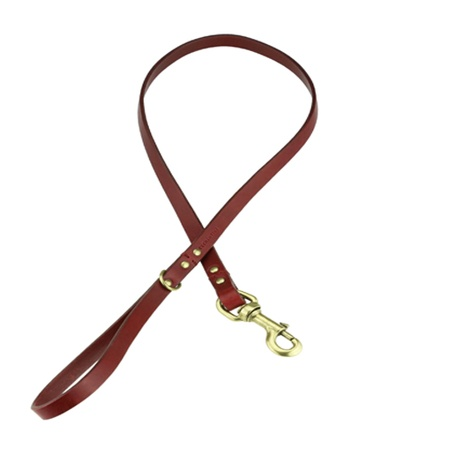 Beaton Flat Leather Dog Lead – Burgundy