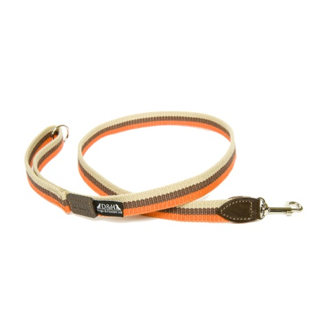 Orange, Brown & Cream Wide Striped Webbing Lead