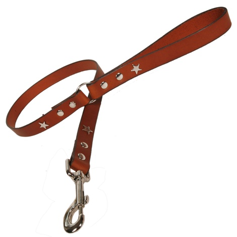 Tan Silver Stars Classic Leather Dog Lead