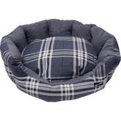 Hem & Boo - Tartan Check Oval Dog Bed - Charcoal