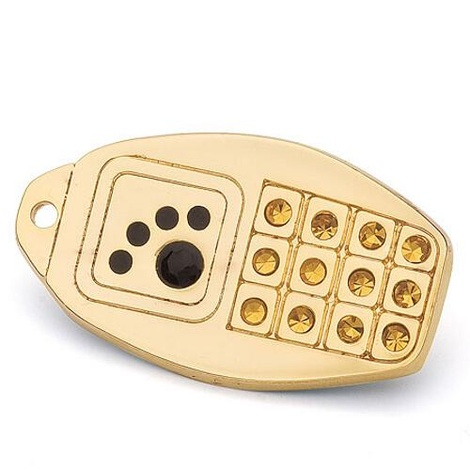 Gold Phone Dog Tag