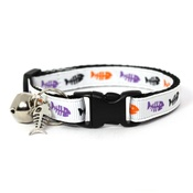 Mog's Togs - White Fishbones Safety Cat Collar