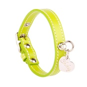 Chihuy - Green and Silver Stitch  Leather Collar