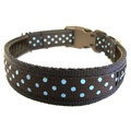 Classic Aqua on Brown Polka Dots Dog Collar 2