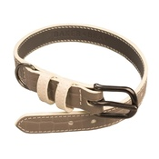 Baker & Bray - Paris Croc Leather Dog Collar – Steeple Grey & Stone