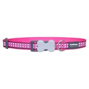 Red Dingo - Bones Reflective Dog Collar - Hot Pink