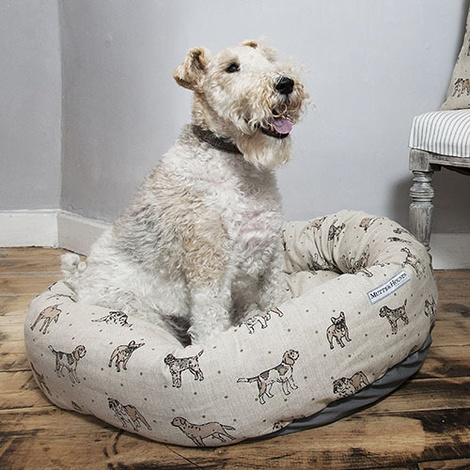 Dogs Linen Donut Bed - Natural 3