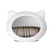GuisaPet - White Cat Cave with Tartan Cushion
