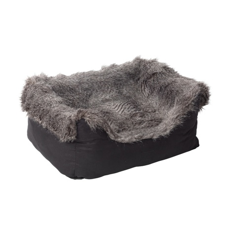 Arctic Tipped Faux Fur & Suede Square Snuggle Dog Bed 2