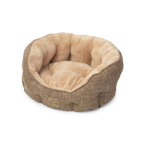 Natural Hessian Oval Dog Bed 2